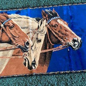Vintage mid century modern horse tapestry